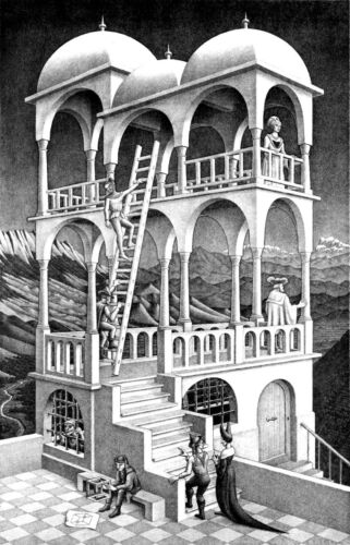 M C Escher belvedere print canvas giclee 8X12/&12X17 reproduction poster illusion