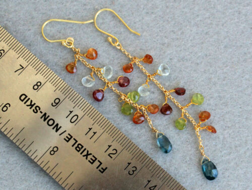Details about  /18k Gold Plated Over Silver Muti Color Gemstone Earrings