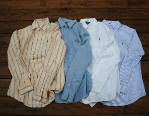 Mens-Polo-Ralph-Lauren-Long-Sleeve-Custom-Fit-Cotton-Oxford-Shirt-white-navy-M-L