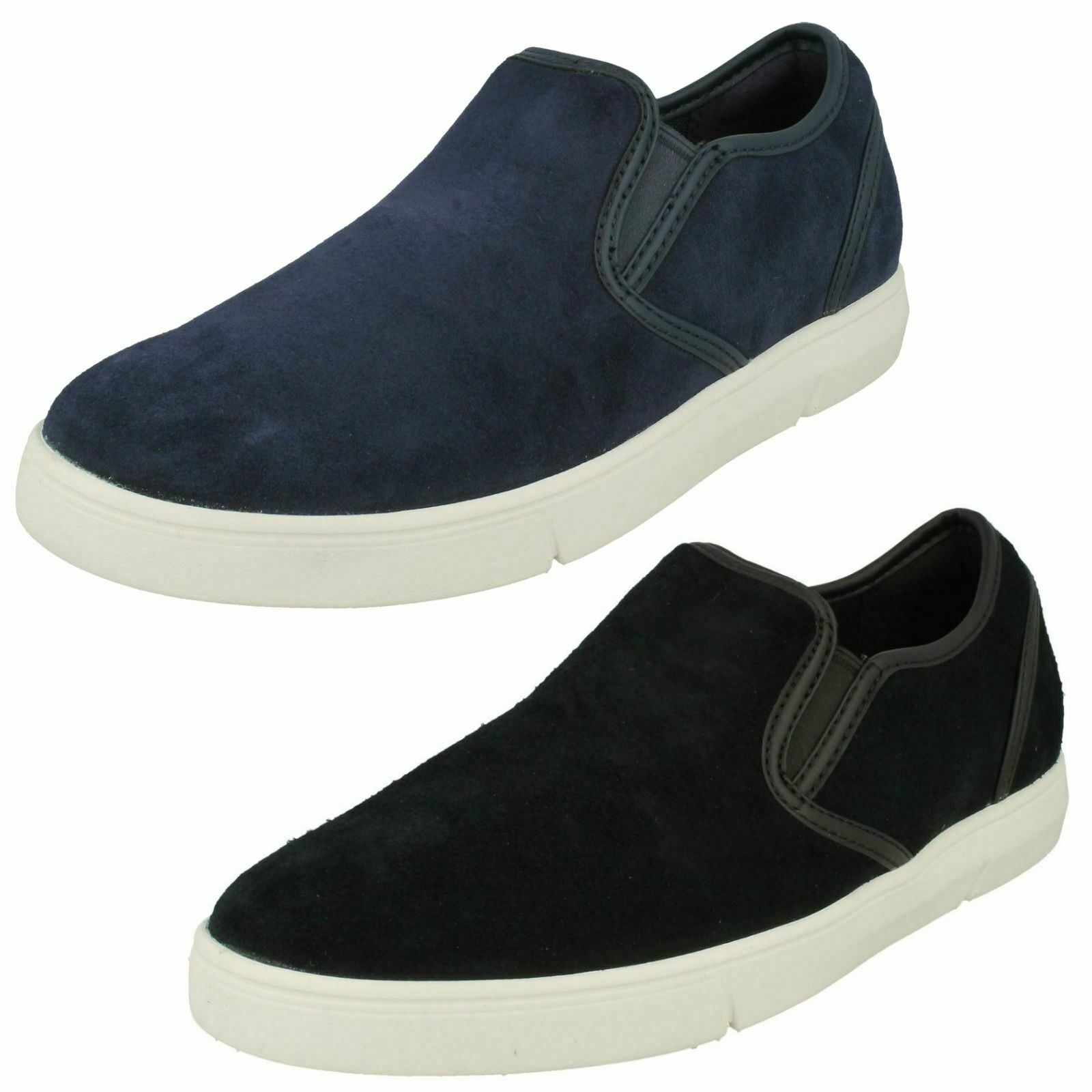 Mens Clarks Rounded Toe Casual Slip On Suede schuhe Landry Step