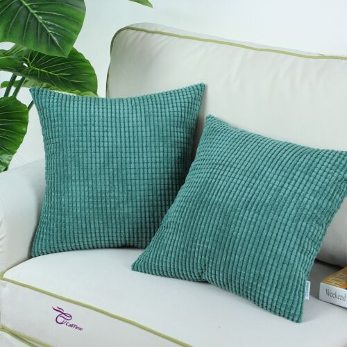 2Pcs Teal Cozy Throw Pillows Cover Shells Corn Soft Corduroy Striped Home 24x24/""
