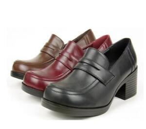 Women Cosplay Japanese School Uniform Student JK PU Leather Block High Heel Shoe