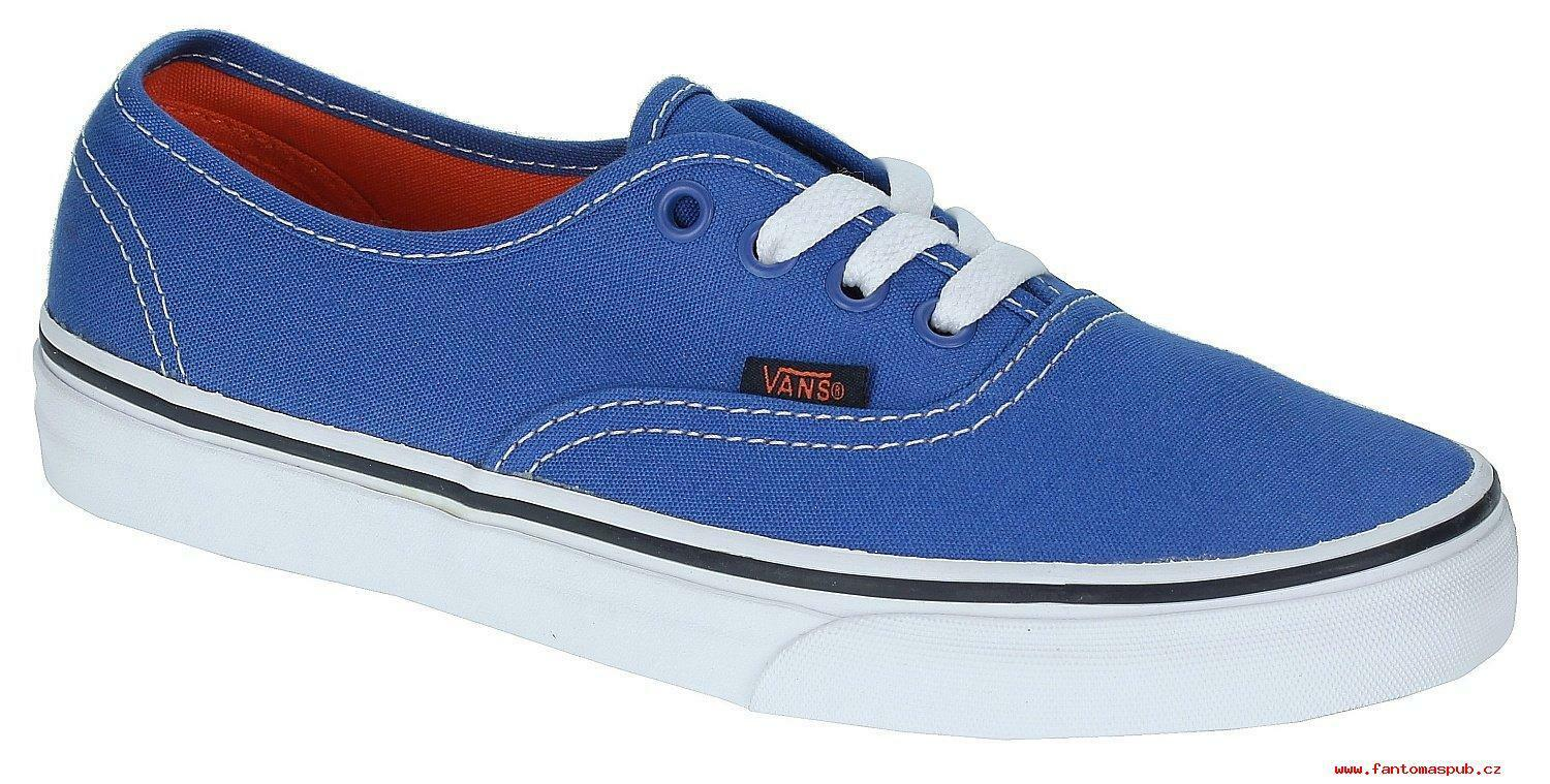 VANS Authentic (Pop) Strong Blue Nasturtium Men's Skate Shoes SIZE 11.5