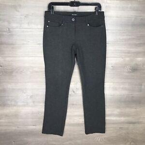 White House Black Market Size 4 Women's Slim Leg Ponte Knit Pants Charcoal Gray