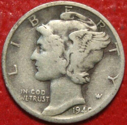 Circulated 1940-D Mercury Dime 90/% Silver US Coin