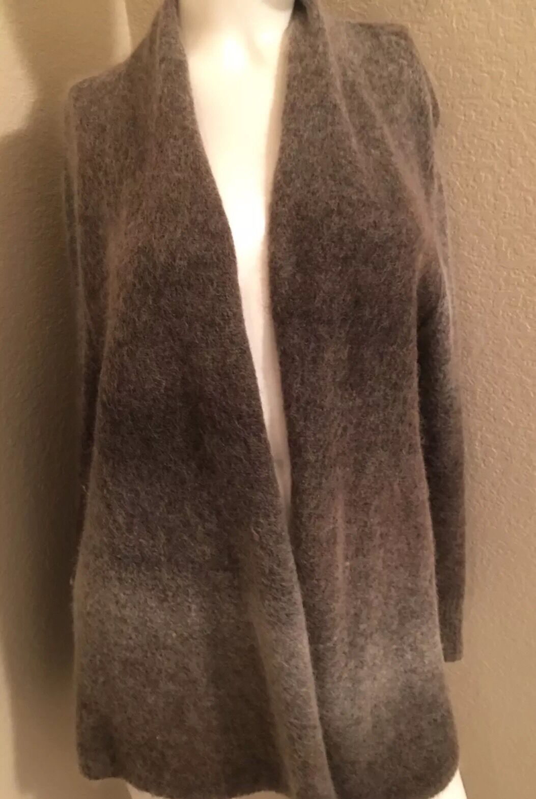PREOWNED EILEEN FISHER OPEN FRONT SWEATER SUPER SOFT DRAPEY CARDIGAN LARGE BROWN