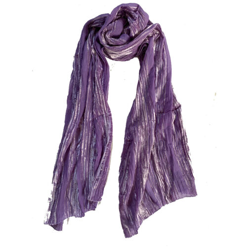 Womens Deluxe Velvet Crinkled Crepe Scarf Devore Silk Pink Purple Camel Blue NEW
