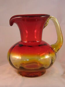 blenko pitcher glass amberina blown hand jug ruby gently used rare yellow