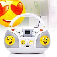 Kinder Cd Player Mp3 Stereo Anlage Smiley Sticker Usb Musik Spieler Radio Tuner
