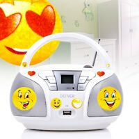 Kinder Cd Player Mp3 Stereo Anlage Smiley Sticker Usb Musik Spieler Radio Tuner