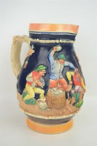Vintage-Large-Colorful-Stoneware-German-Beer-Pitcher-Souvenir-Bar-Scene-7-5-034
