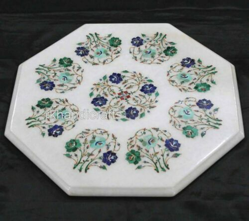 15 Inches Marble Coffee Table Top Inlay Side Table with Floral Design Home Decor