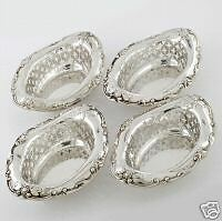 Beautiful-4-Gorham-Antique-Sterling-Silver-Pierced-Boarder-Bon-Bon-Nut-Dishes