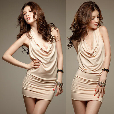 New Womens Backless Sequins Deep V-neck Pleated Halter Party Dance Mini Dress