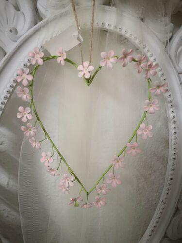 Metall Herz mit Blüten 14cm Deko Shabby Vintage Landhaus