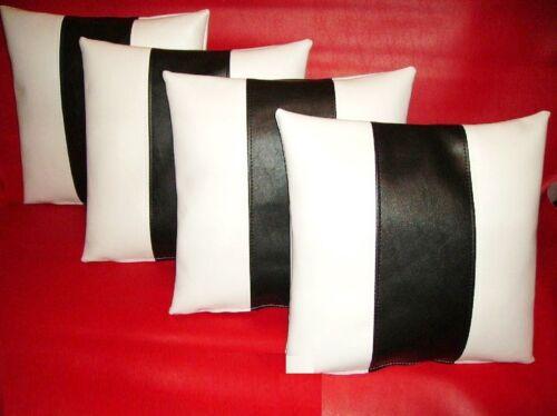"""4 blanco y negro raya imitación cuero Cushion Covers Almohadas de dispersión 16/"""" 18/"""" 20/"""""""