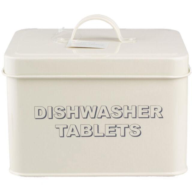 CREAM ENAMEL DISHWASHER TABLETS CONTAINER STORAGE BOX LAUNDRY TIN WASHING LID