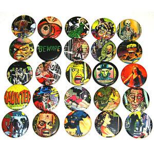 HORROR-PULP-COMIC-BADGES-x-25-Button-Pins-Bulk-Wholesale-Lot-32mm-1-25-034