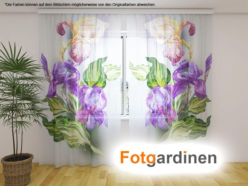 Foto visillos de gasa  iris  cortina con motivo, impresión fotográfica, a medida
