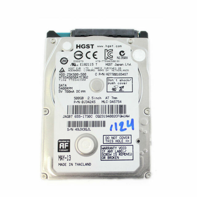 Disco Duro Hitachi 500GB 2.5' 5400RPM HDD HTS545050A7E362 Usado