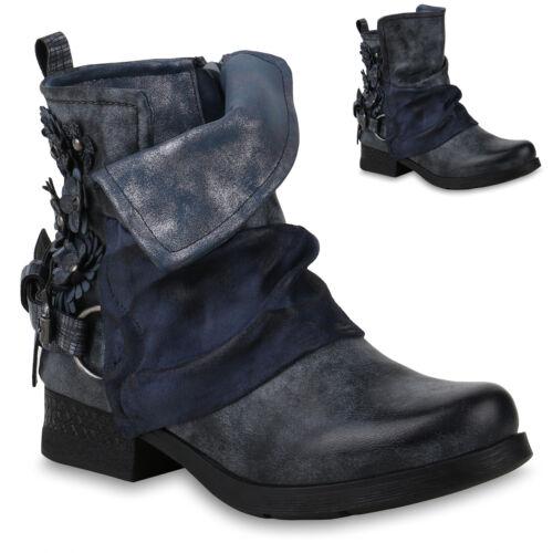 Damen Stiefeletten Biker Boots Metallic Schuhe 823972 Trendy Neu