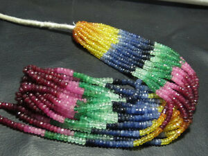 100-Natural-Multi-Sapphire-Emerald-Ruby-Rondelles-Beads-15-034-1-Strand-Free-Ship