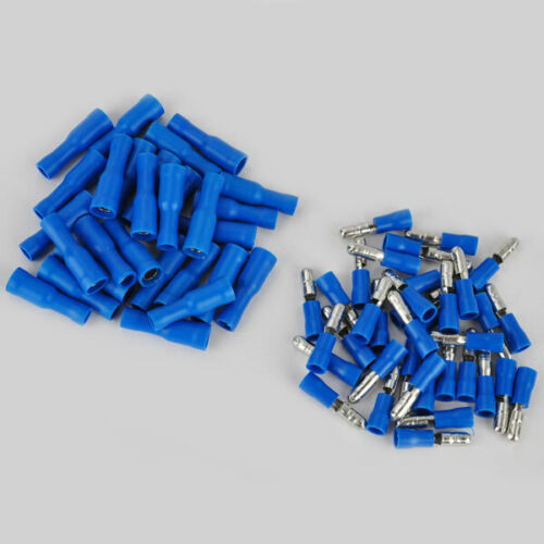 100X Blue Male+Female Plug In Connector Bullet Crimp Terminals Wiring Insulated