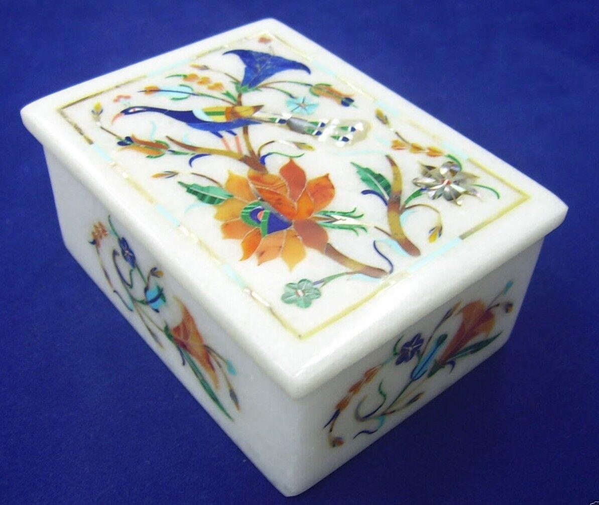 Marble Jewelry Box Semi Precious Stones inlay handicraft home decor and gift