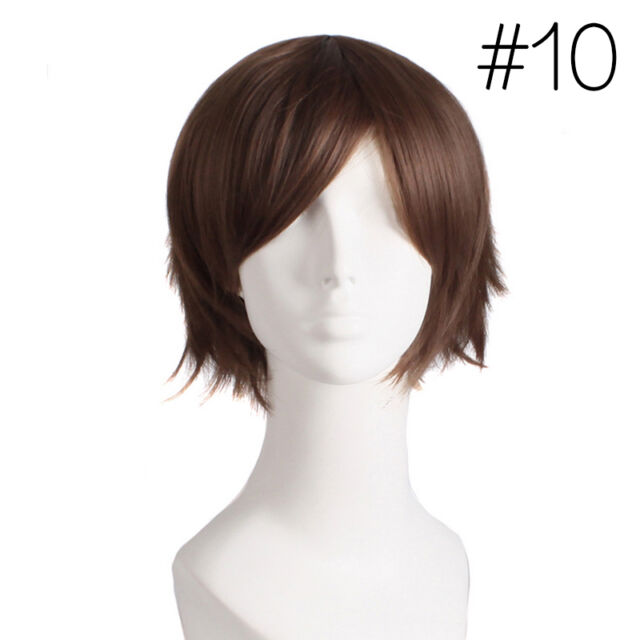 Unisex Straight Short Hair Wig Cosplay Party Anime Full Wigs Colors Selling Hot