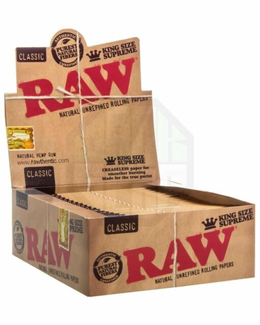12 Packs x RAW Classic King Size SUPREME Rolling Papers