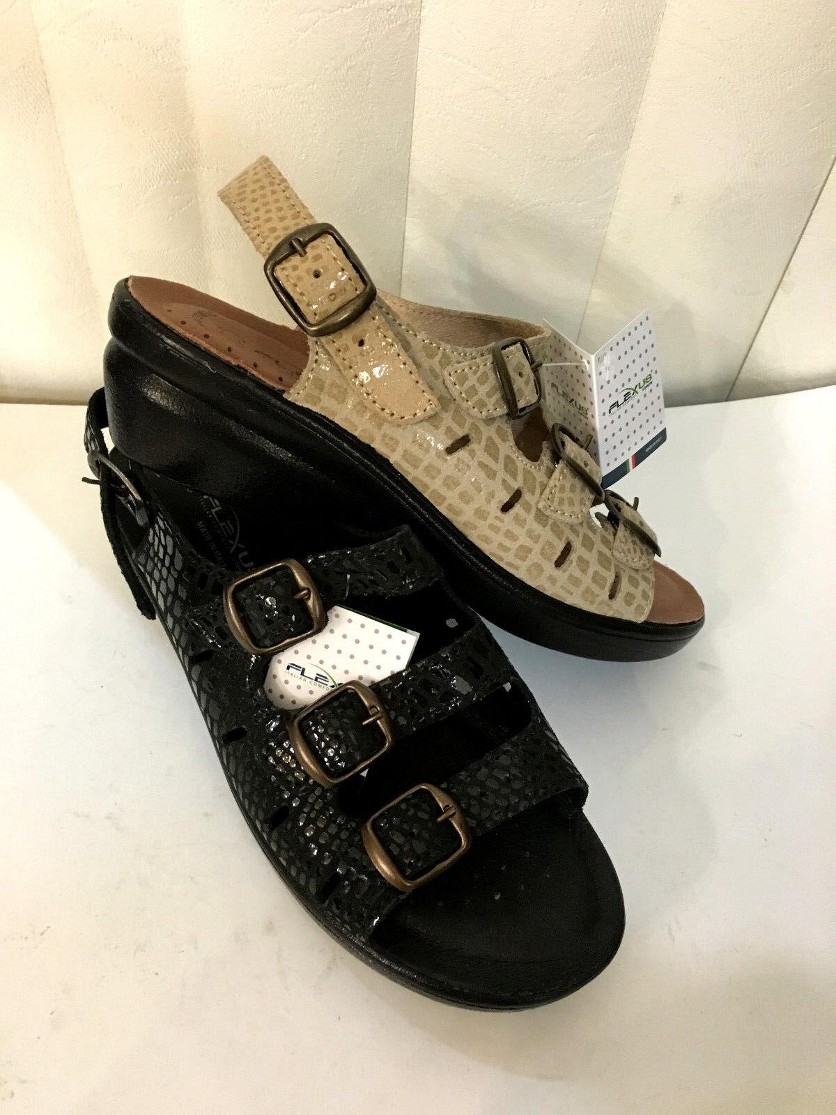 Flexus Adriana nero  Beige Leather Adjustable Sandals Dimensione 5-11 5-11 5-11  MADE IN ITALY  9ace0b