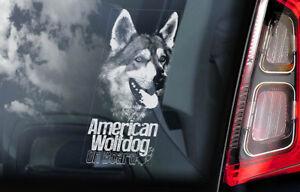 American-Wolfdog-a-Bordo-Coche-Ventana-Pegatina-Lobo-Saarloos-Perro-Signo-V1