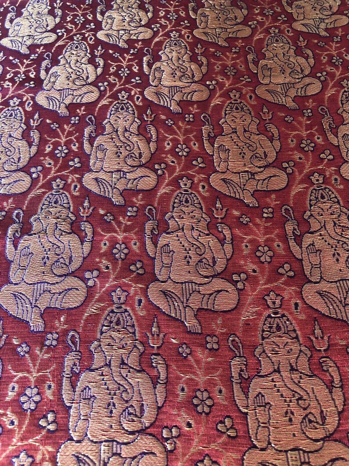 Silk Brocade GANESHA Tapestry Table Runner Unique Rare fait A acheté l'Inde
