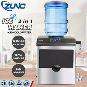 ZUNC-Auto-Commercial-ICE-Cube-Maker-Cold-Water-Machine-2in1-For-Home-Office-Bar