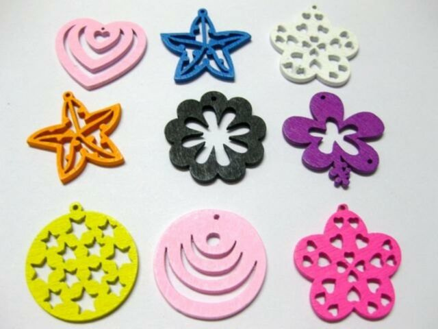 500 Assorted Bright Color Wood Cut-Out Charms Wooden Pendants