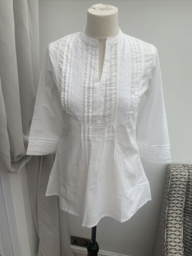 AKKRITI white broderie anglaise cotton tunic blouse summer chic SIZE M BNWT NEW