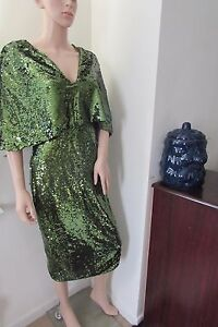 e2068c77 Club L Overlay Midi Dress Embellished Sequin 6 10 12 14 16 Green ...