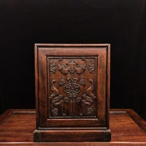 11-034-Chinese-old-antique-huanghuali-wood-handcarved-bat-Jewelry-box