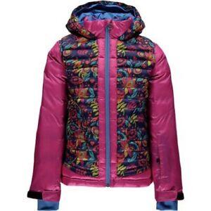 14//16 Kids Spyder Girls Nora Hooded Down Jacket,Ski Snowboarding Jacket,Size L