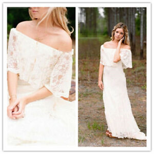 Empire Off Shoulder Lace Beach Maternity Wedding Dress Pregnant