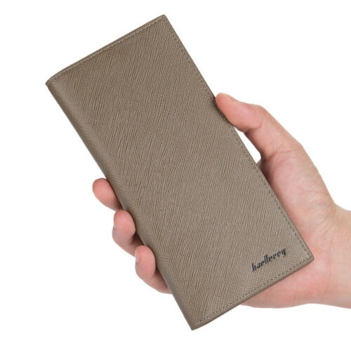 Homme Portefeuille en cuir deux volets ID Card Holder Purse chéquier long embrayage portefeuille