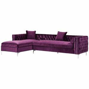 Posh Living Levi Velvet Tufted With Silver Y Leg Chaise Sectional