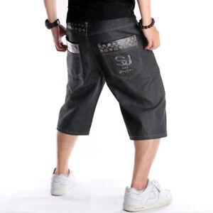 Mens-Shorts-Jeans-Denim-Capri-Pants-Relaxed-Baggy-Loose-Hip-Hop-Black-W30-W46