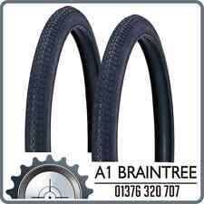 "2x Duro 26 x 2 x 1 3/4"" Tyre Black - Block Tread Butcher Bike Balloon Tire Rare"