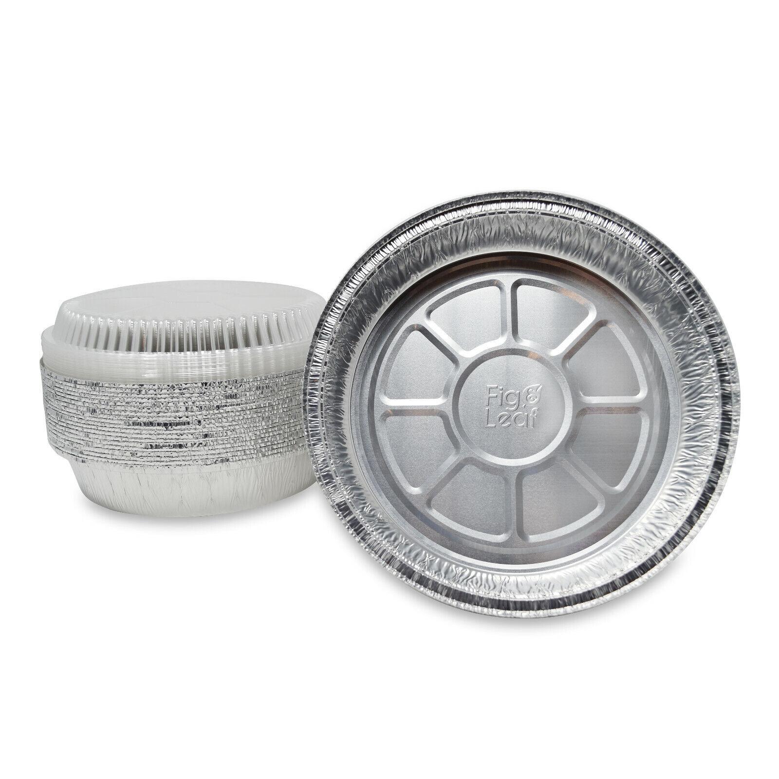 100PCS Half-Size Shallow Aluminum Foil Pans with Dome Lid HFA 320
