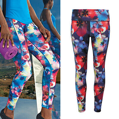 Gym Fitness Yoga Sports Structural Disabilities Tridri Women's Flower Full-length Leggings tr036
