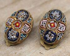 Vintage Micro Mosaic Earrings Clip-On Costume Jewellery Micromosaic Deco