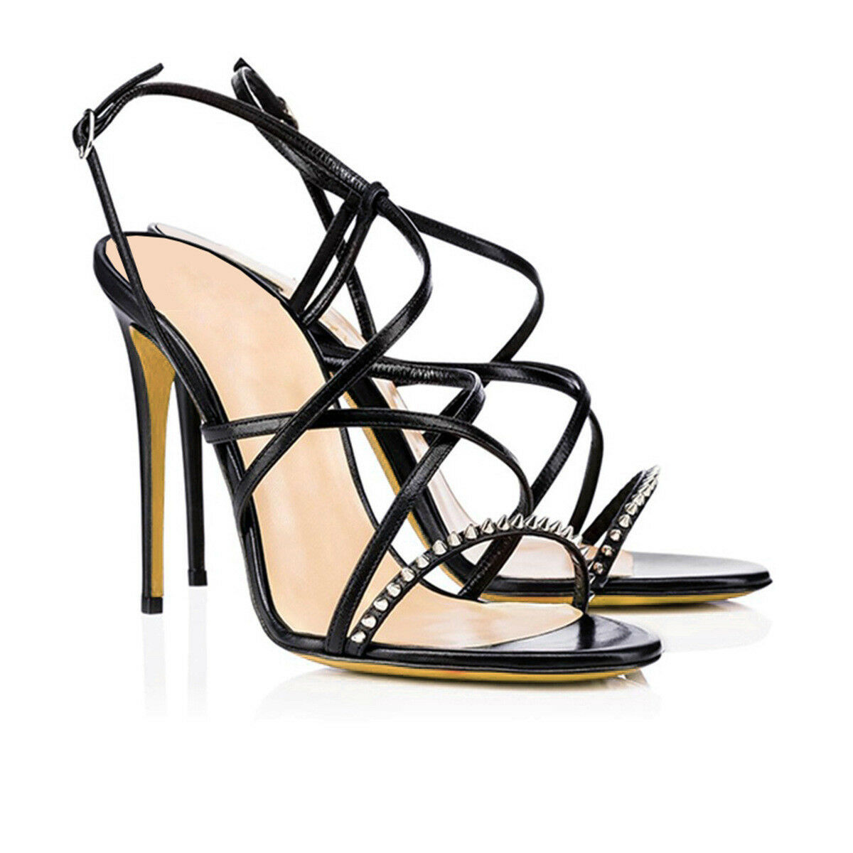 alla moda donna Sexy Peep Peep Peep Toe Ankle Strap High Heel Party Sandals Rivets Stiletto Heels  marche online vendita a basso costo