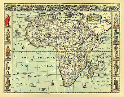 AFRICA  John Speed  Replica  Old 17c.Map FULL SIZE GICLÉE PRINTED Great Gift.!