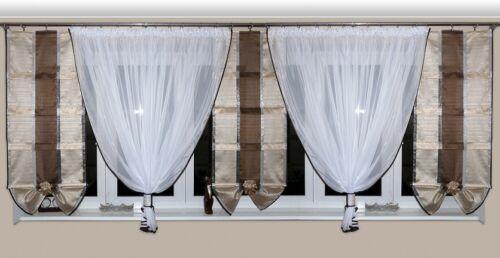 Fertiggardine aus Voile Vorhang SET Schöne Gardine AG7 Modern Weiß Braun Fenster